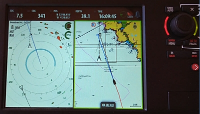Looking at the radar and chart plotter on split screen