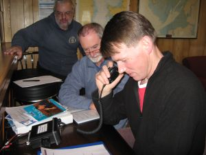 Jamie uses the VHF radio